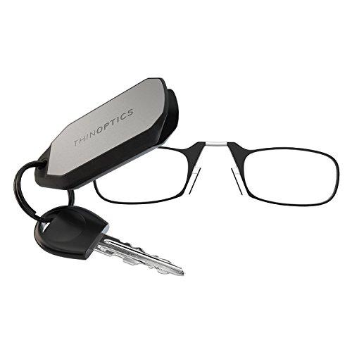 ThinOptics Keychain Case + Rectangular Reading Glasses, Black (Retail), 2 Piece Set + 2