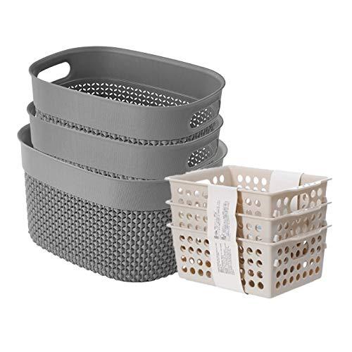 AREYZIN 6-Pack Plastic Storage Baskets Pantry Organization and Storage Bins for Bathroom Kitchen Office Kid Play Area