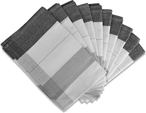 normani 10 x Geschirrhandtücher Halbleinen in verschiedenen Ausführungen wählbar Farbe New/Grey Größe 55 x 75 cm