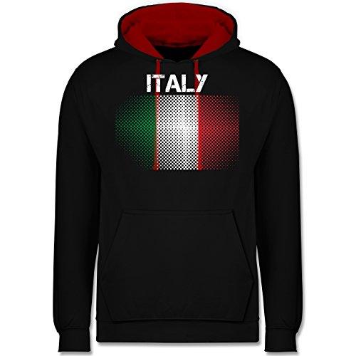 Shirtracer Länder - Italy Flagge - XS - Schwarz/Rot - Russland Pullover - JH003 - Hoodie zweifarbig und Kapuzenpullover für Herren und Damen