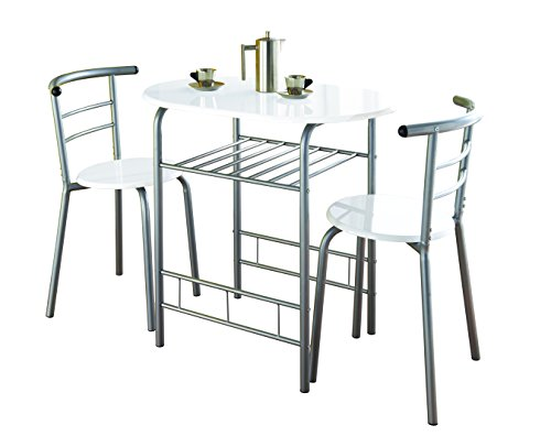 Modern White High Gloss Dining Table and 2 Chairs Set Metal Frame Kitchen