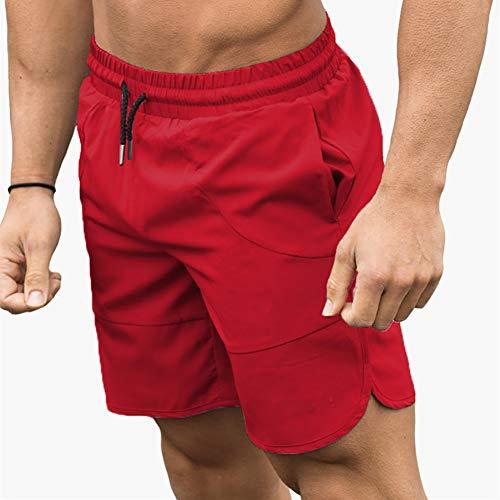 XXZ Pantalones Cortos de Deporte para Hombre Secado rápido Pantalones Cortos con Bolsillo,Rojo,M