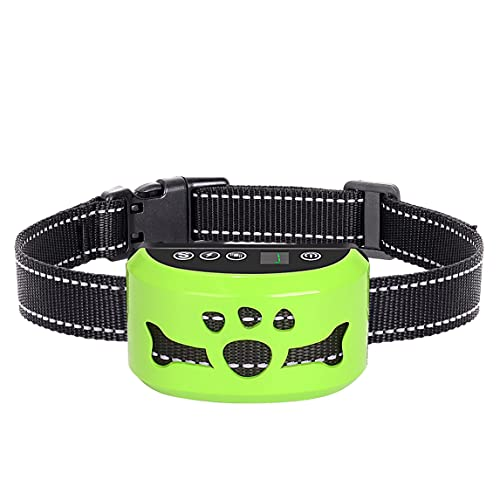Dog No Bark Collar with Smart Detection Vibration and Harmless Shock- Rechargeable Anti Barking Device for Small Medium and Large Dog (Green)