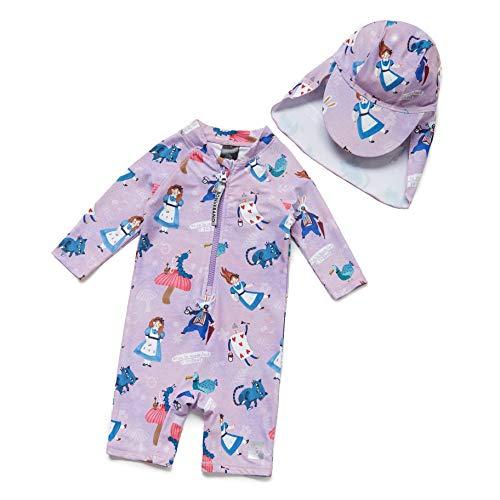 Baby Mädchen Ein stück 3/4 der ärmellänge UV-Schutz 50+ Badeanzug MIT Einem Reißverschluss(Lila-Blulen,12-18M)