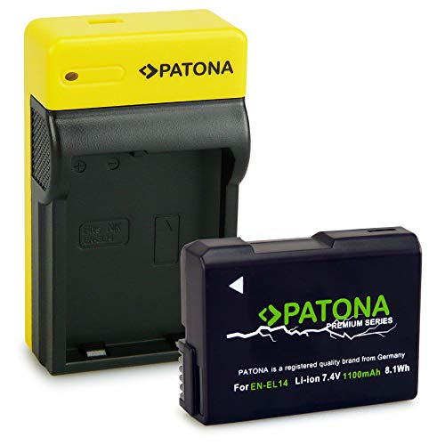 PATONA Premium Bateria EN-EL14 con Estrecho Cargador Compatible con Nikon P7700, P7800, D3400, D5500, D5600