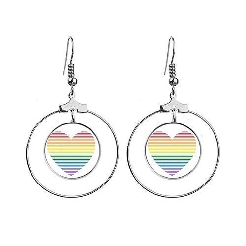 Rainbow gay lesbische gevoerde hart LGBT oorbellen Dangle Hoop sieraden Drop cirkel