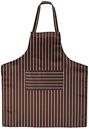 Delantal halter ajustable, Delantal largo de cocina para hombres y mujeres, Comedor comercial negro y Delantal de cocina para el hogar, Rayas blancas rojas negras (31 x 27 pulgadas)