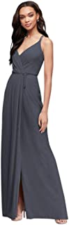 David's Bridal Double-Strap Long Georgette Bridesmaid Wrap Bridesmaid Dress Style F19755