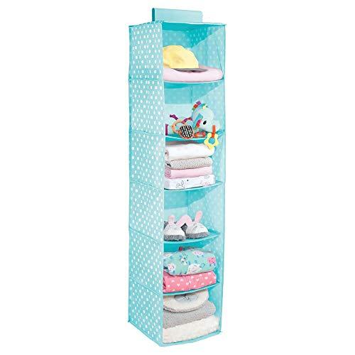 mDesign - Hangende opberger met 6 vakken - babykamer organizer - voor kleding/schoenen/speelgoed en meer - ademend/synthetisch materiaal - turkoois/wit