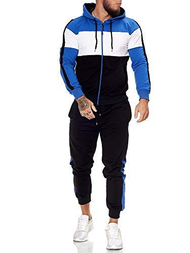 Code47 | Herren Trainingsanzug | Jogginganzug | Sportanzug | Jogging Anzug | Hoodie-Sporthose | Jogging-Anzug | Trainings-Anzug | Jogging-Hose | Modell JG-1082 Blau-Weiss-Schwarz XXL