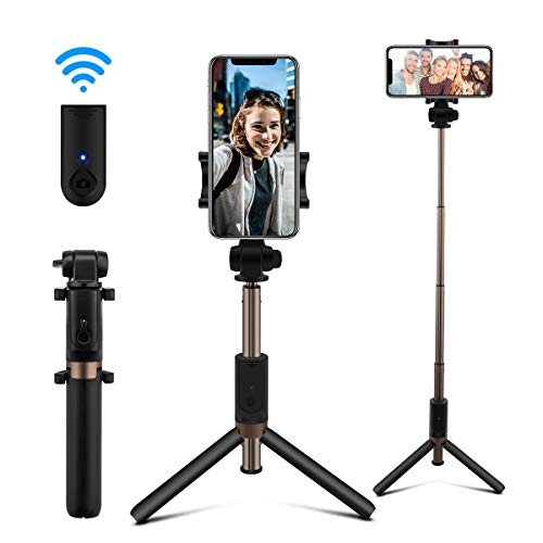 AFAITH Selfie Stick Bluetooth, Extendable Selfie Stick Tripod Stand with Wireless Remote Shutter Compatible with iPhone 12/12 Pro Max/11/11 Pro/XS/XR/8/7/6s/6, Samsung