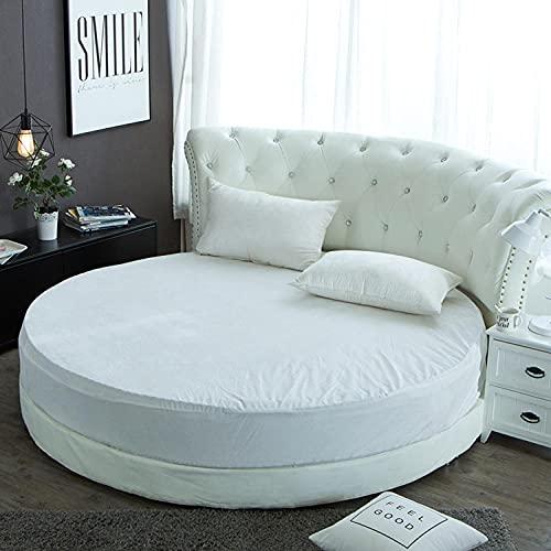 CYYyang Protector de colchón/Cubre colchón Acolchado, Ajustable y antiácaros. Falda de Cama Redonda de Felpa-Blanco_2.1m