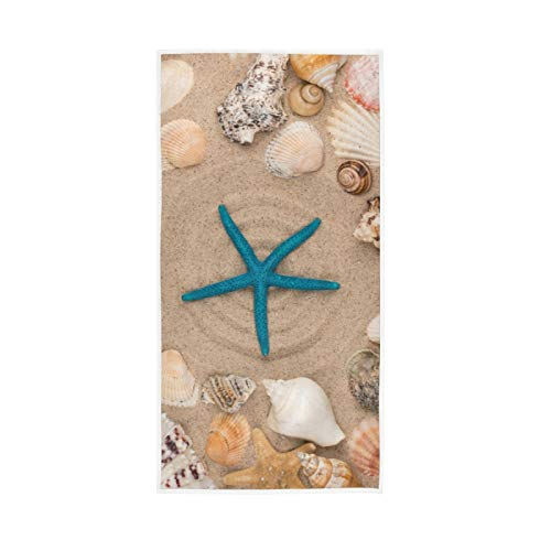 WIHVE Starfish Hand Towels 15 x 30 inch, Beach Seashells Stars Multipurpose Soft Bath Towel Extra Absorbent for Bathroom,Hand, Face, Gym and Spa