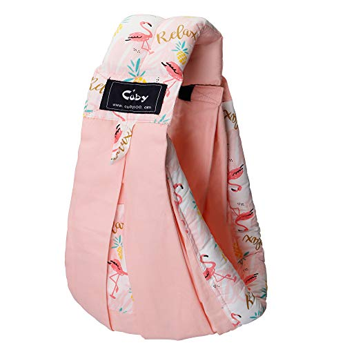Baby Carrier by Cuby, Natural Cotton Baby Sling Baby Holder Extra Comfortable for Easy Wearing Carrying of Newborn, Infant Toddler and Ideal for Baby Registry (Pink Flamingo)