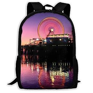41uFrQDgAlL. SS300  - hengshiqi Mochila Backpack, Adult Backpacks Girl'S Shoulder Bag Daypack School Season Ferris Wheel-Santa-Monica…