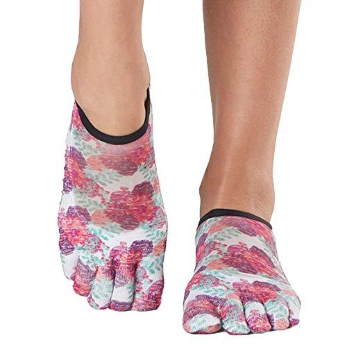 Toesox Grip - Calcetines de pilates para mujer, antideslizantes, punta completa, para yoga y ballet, Mujer, Calcetines, YTOEWTLUNAPOSY-S, Posy, S