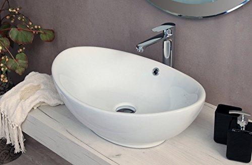 Yellowshop - Lavabo Da Appoggio Cm 59 x 39 Bacinella Lavandino Lavello In Ceramica Bianco Sanitari Bagno Design Moderno Modello Tulip