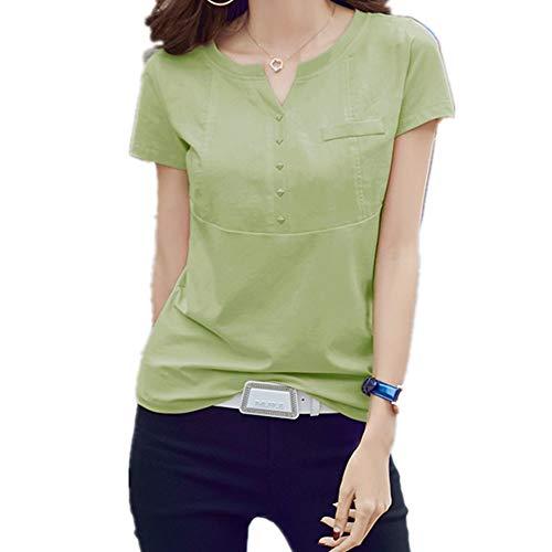NOBRAND - Camiseta de manga corta para mujer con cuello en V y cuello en V Verde Pasto Verde L