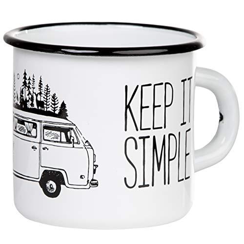 MUGSY Keep it Simple - Take it Easy TASSENWERK | Emaille Tasse mit Campervan Motiv im Outdoor Design | Emaille Becher bruchfest und leicht für Camping und Trekking | Retro Kaffebecher 330 ml