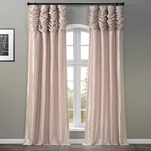HPD Half Price Drapes PTCH-130907-108-RU Ruched Faux Solid Taffeta Curtain (1 Panel), 50 X 108, Antique Beige
