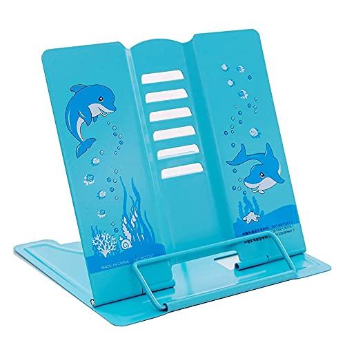Läsställ bokstöd, kokbokhållare bokstativ, bokställ i metall, för recept läsning, barn läsning och lärande (blå)