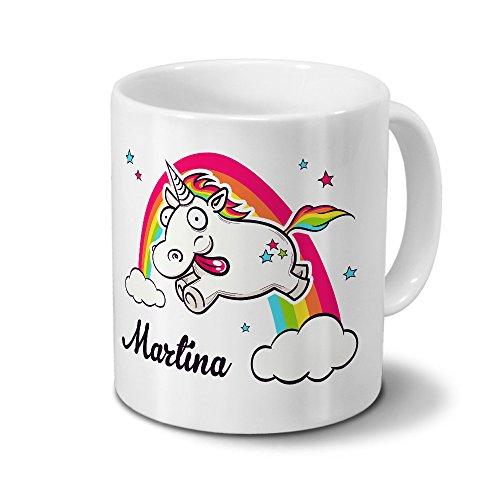 printplanet Tasse mit Namen Martina - Motiv Verrücktes Einhorn - Namenstasse, Kaffeebecher, Mug, Becher, Kaffeetasse - Farbe Weiß