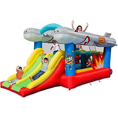 AJH Inflatable Bouncer, Inflatable Bounce Slide Wasserpark Bouncy Castle House incorporados Kugelgrube con Luftgebläse para el jardín al aire libre