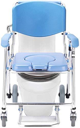 Z-SEAT Multifunktionaler Aluminium-Badhocker mit feststellbaren Rollen, faltbarem Rollstuhl am Bett, Kommodenstuhl mit Rädern, rollbarer Rollstuhl für transportable Toiletten