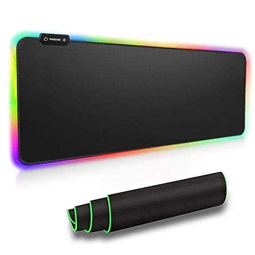 RAGZAN RGB Gaming Mauspad XXL-Mousepad mit 7 LED Farben 14 Beleuchtungs Modi Mouse Pad Computertastatur Maus Pad mit Wasserdichter, Rutschfester Gummibasis für Spiele, Computer, PC- 800 × 300 ×4 mm