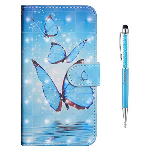 Grandoin Funda para Samsung Galaxy A01 Core, Superficie Colorida 3D PU Cuero Case Cuerpo Completo Carcasa Protectora Cartera Soporte Plegable Función Fundas Case Cover (Mariposa 2)