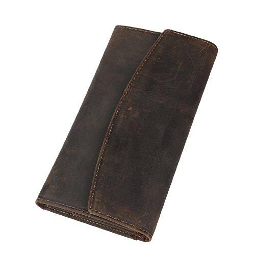 BAIGIO Portafoglio Lungo in Vera Pelle Portamonete da Uomo Donna Porta Cellulare Carte di Credito Documenti Stile Vintage, Marrone Scuro