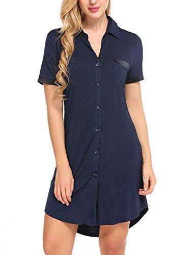 Avidlove Damen Viktorianisch Nachthemd T-shirt Luxus Nachtwäsche- Gr. M, Kurzarm 1: Marineblau