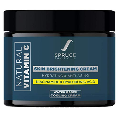 Spruce Shave Club Vitamin C Face Cream for Men with 1% Hyaluronic Acid | Skin Brightening and Anti Ageing Cream for Fine Lines, Wrinkles and Dark Spot Removal