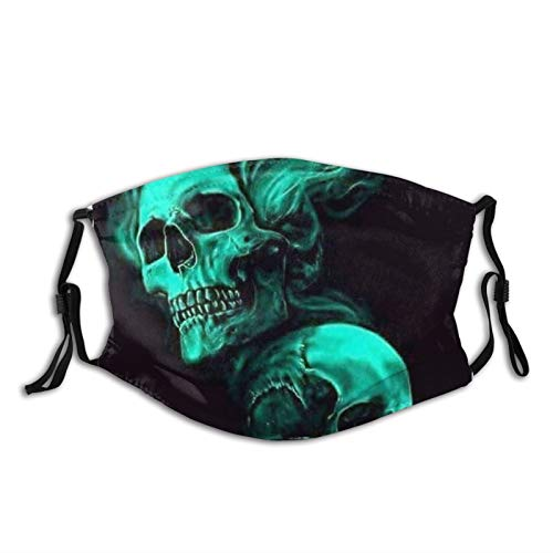 Green Cool Smoke Skull Black Face Mask With Filter Pocket Washable Reusable Face Bandanas Balaclava With 2 Pcs Filters