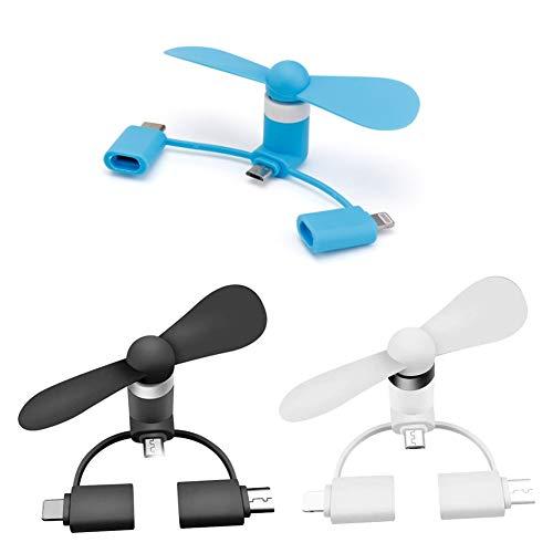 3PCS Mini Ventilador USB para teléfono, Mini ventilador 3 en 1 ventilador de teléfono portátil para iPhone/iPad, Android Micro USB, Tipo C conectores