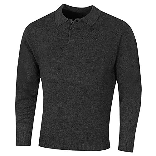 Island Green IGKNT2062 Supersoft Fine Knit Placket Sweater Suéter pulóver, Gris Oscuro, XXL para Hombre