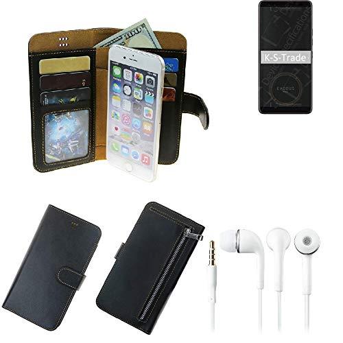 K-S-Trade TOP Set Für HTC Exodus 1 Portemonnaie Schutz Hülle Schwarz Aus Kunstleder + Kopfhörer Walletcase Smartphone Tasche Für HTC Exodus 1 Vollwertige Geldbörse Mit Handyschutz