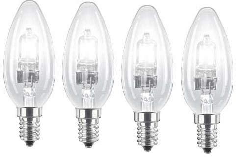 4 lampadine alogene a risparmio energetico 42W (= 55W-60W) SES; E14ECO Classic, attacco Edison piccolo, dimmerabile, 630lumen, 240V, Clear, E14 42W 240V
