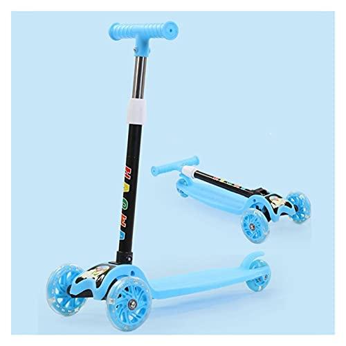JSZHBC Vespa Plegable portátil Ultraligero con luz Intermitente de la Rueda de la PU Suave y rápido Paseo de Altura Ajustable for no eléctrico Scooter clásico (Color : Blue)
