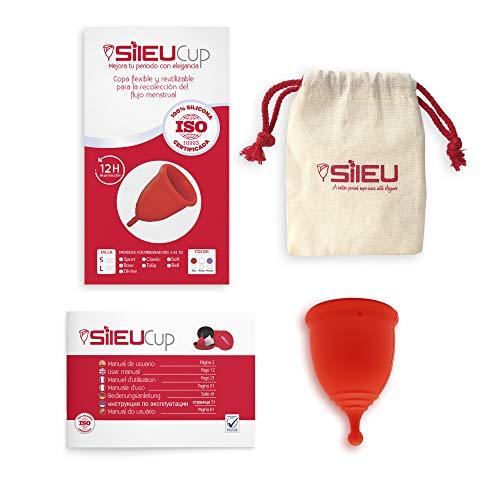 Sileu Menstruationstasse Divine - Bequemster Becher - Bis zu 12 Stunden Schutz ohne Undichtigkeiten - Medizinisches Silikon - Empfindliche Blasen und Regelkrämpfe, Größe S, Rot
