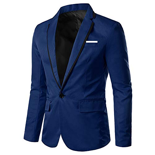 YOUTHUP Blazer da Uomo Slim Fit Leggera Giacca da Completo Elegante da Uomo Blazer 1 Bottone
