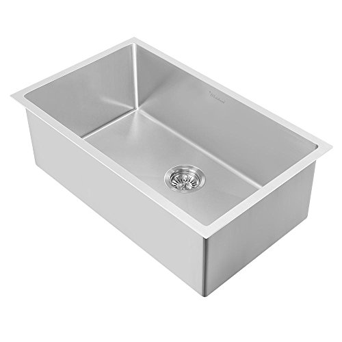 Whitehaus WHNPL3318-BSS Noah Plus Collection Kitchen Sink, Brushed Stainless Steel