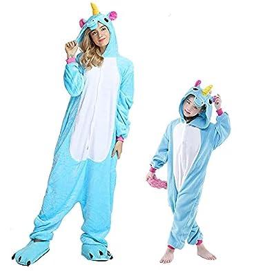 Regenboghorn Unicornio disfraz de pijama Pegaso, mono, para hombres, mujeres, niños, Halloween, fiesta, mono, camisón azul Pegasus X-Large