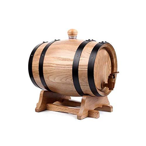 YAMMY Barril de Vino de Madera Barril de Vino de Madera de 10L Barril, Mini Barril de Cerveza de Alcohol (sin Forro/sin Caucho Barril de Cera fuuml; r Whisky Oder Wein (Barril de Vino)