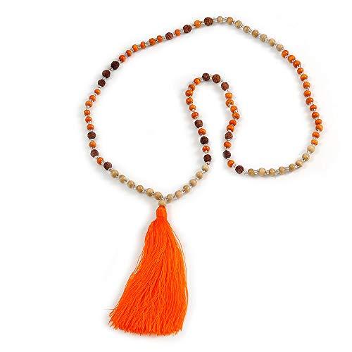 Avalaya Collar largo de madera, cristal, cuentas de semillas, con borla de seda (desnudo, naranja, marrón) – 80 cm de largo / 11 cm de borla