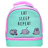 Pusheen 15201Z Insulated Packed Lunch Bag for Kids and Adults, 2 Compartments with Zip Closure, Food Safe, Spill Proof, Easy to Clean and Carry-Mint and Pastel Pink, Multi