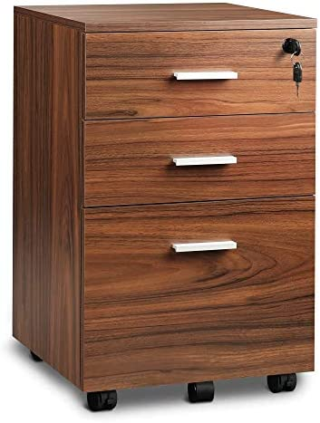DEVAISE 3 Drawer Mobile File Cabinet with Lock Wood Filing Cabinet for A4 or Letter Size Fully product image