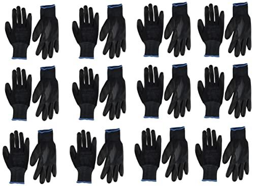12 o 24pares de guantes de trabajo de nailon negro revestidos de poliuretano. Guantes AJS Workwear Ltd para jardinería, construcción y mecánica