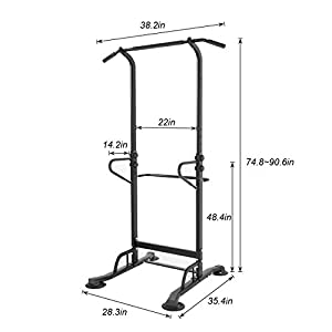 DlandHome Upgrade Multi-Function Power Tower Adjustable Height Pull Up and Dip Station Strength Training Fitness Workout Station, PSBB002-P