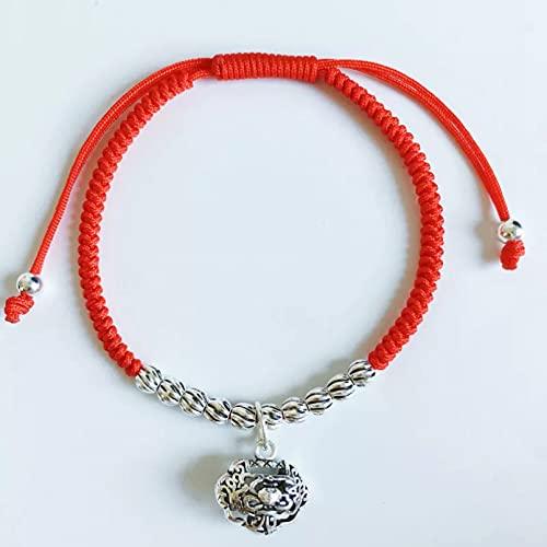 WLLLTY Pulsera Mujer, Pulsera de Plata esterlina S925 para Mujer, Pulsera de Cadena roja de la Suerte a la Moda, joyería